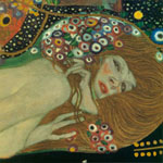 Tavla av Klimt, gustav - Sea Serpents Iii