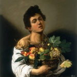Tavla av Caravaggio - Young Man With Fruit Basket